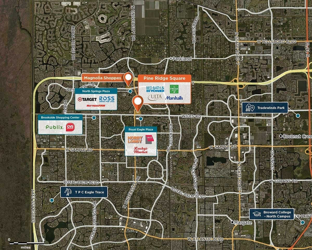 Pine Ridge Square Trade Area Map for Coral Springs, FL 33067