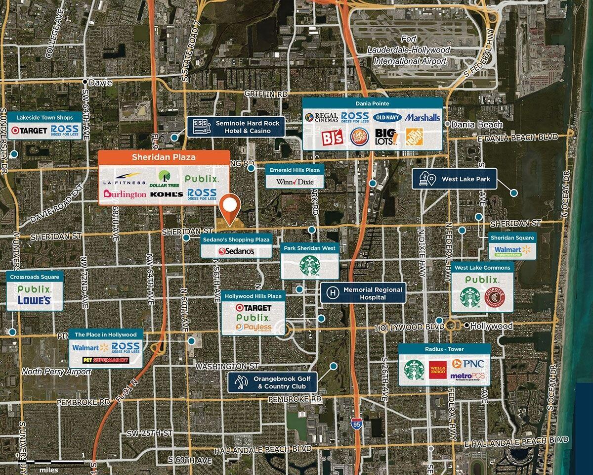 Sheridan Plaza Trade Area Map for Hollywood, FL 33021