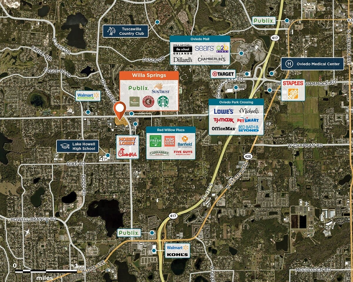 Willa Springs Trade Area Map for Winter Springs, FL 32708