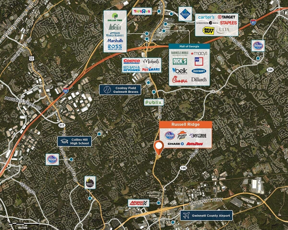 Russell Ridge Trade Area Map for Lawrenceville, GA 32043
