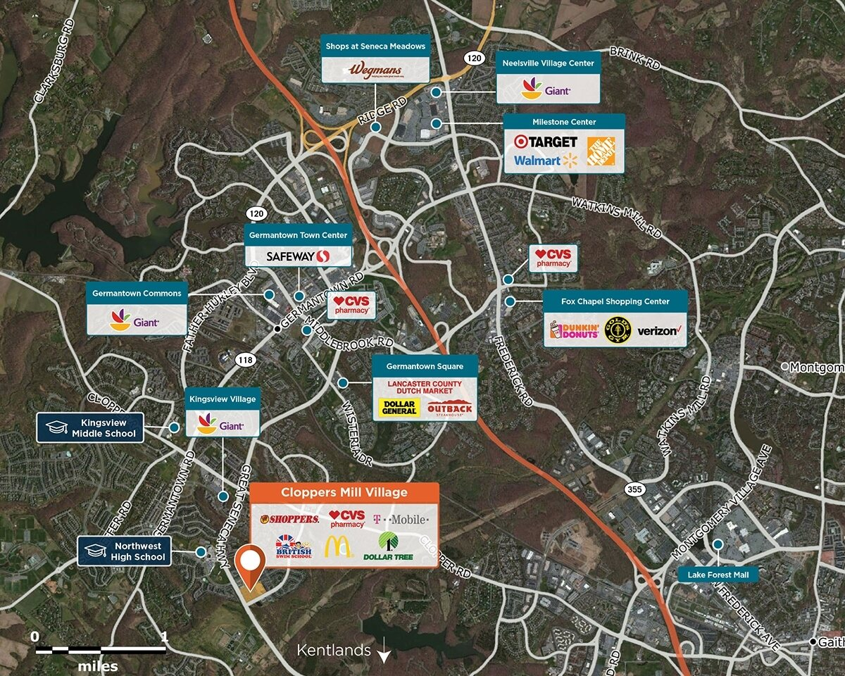 Cloppers Mill Village Trade Area Map for Germantown, MD 20874