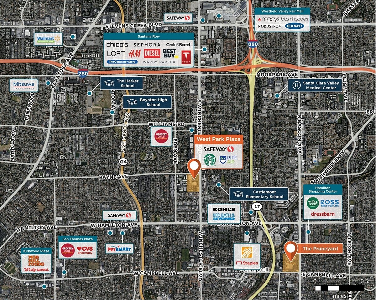West Park Plaza Trade Area Map for San Jose, Ca 95128