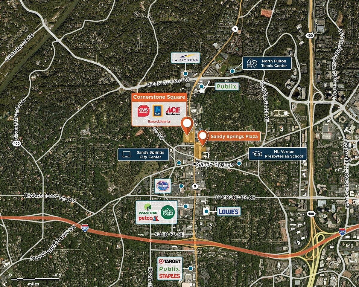 Cornerstone Square Trade Area Map for Sandy Springs, GA 30328