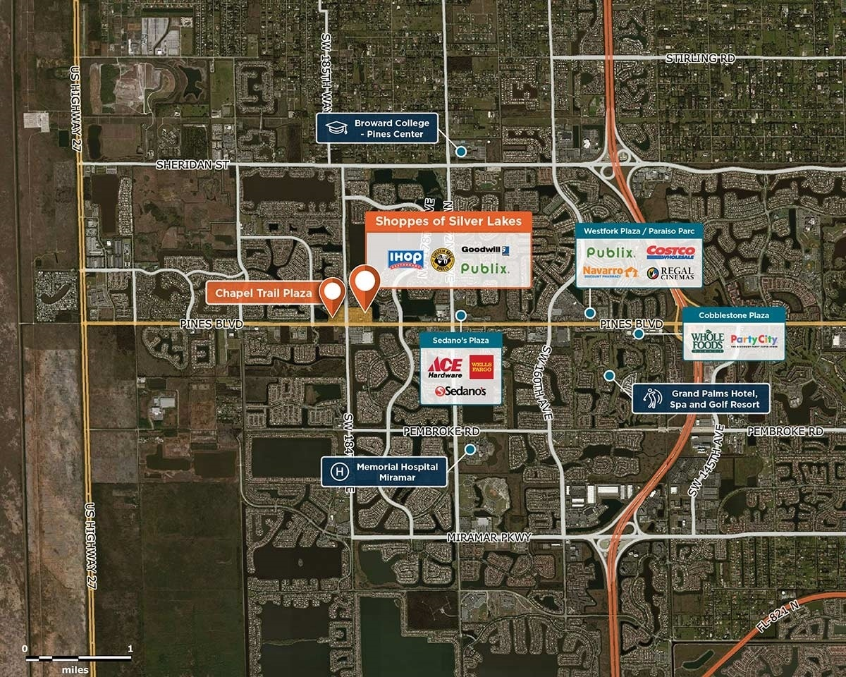 Shoppes of Silver Lakes Trade Area Map for Pembroke Pines, FL 33029