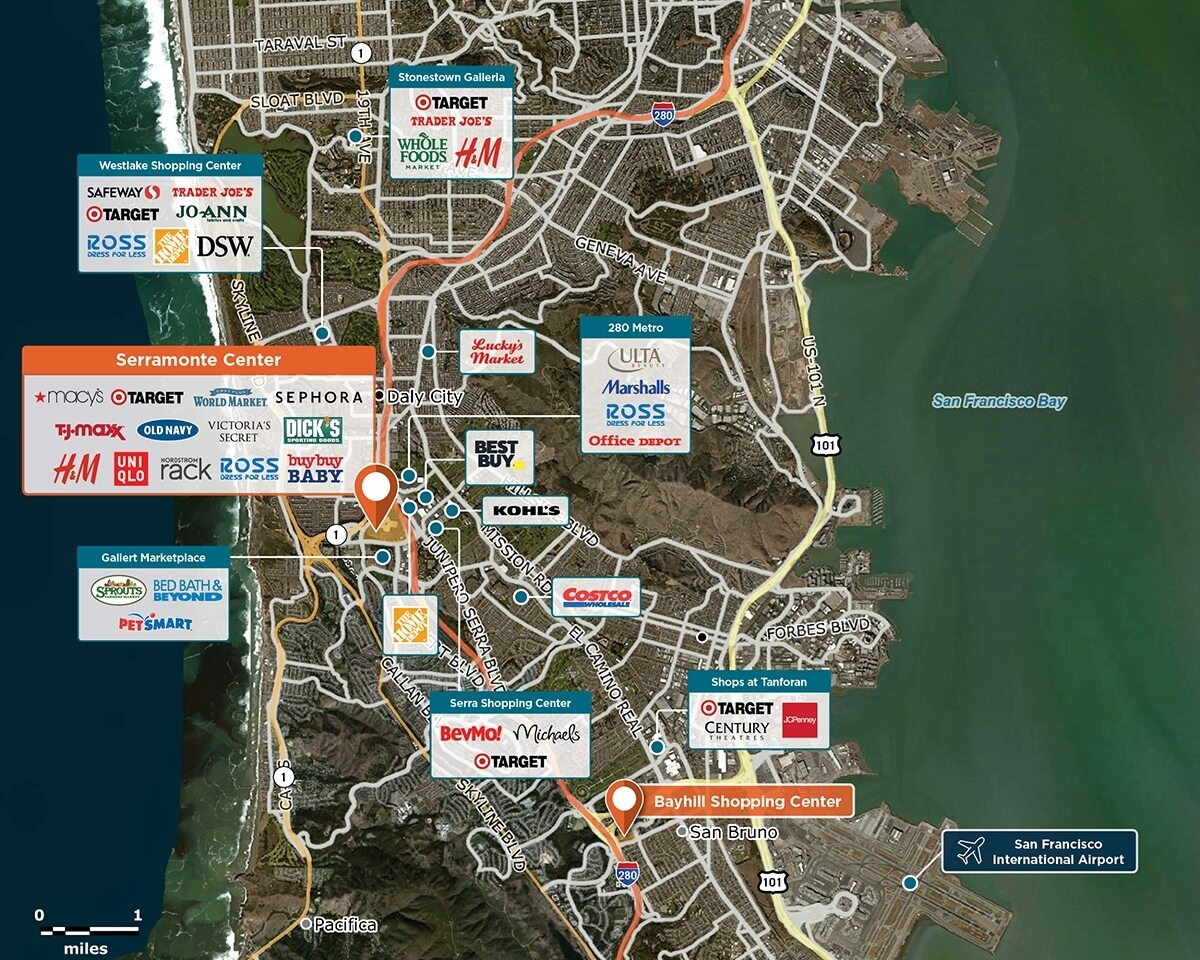 Serramonte Center Trade Area Map for Daly City, CA 94015
