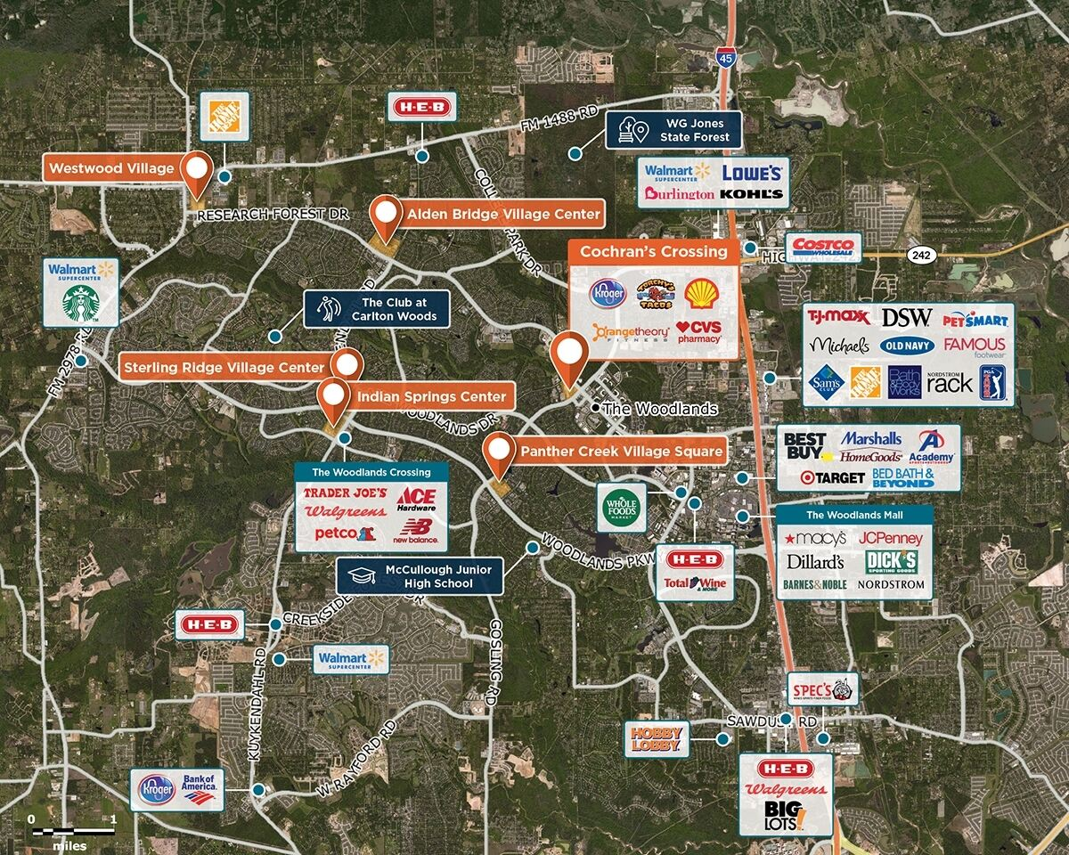 Cochran's Crossing Trade Area Map for The Woodlands, TX 77381