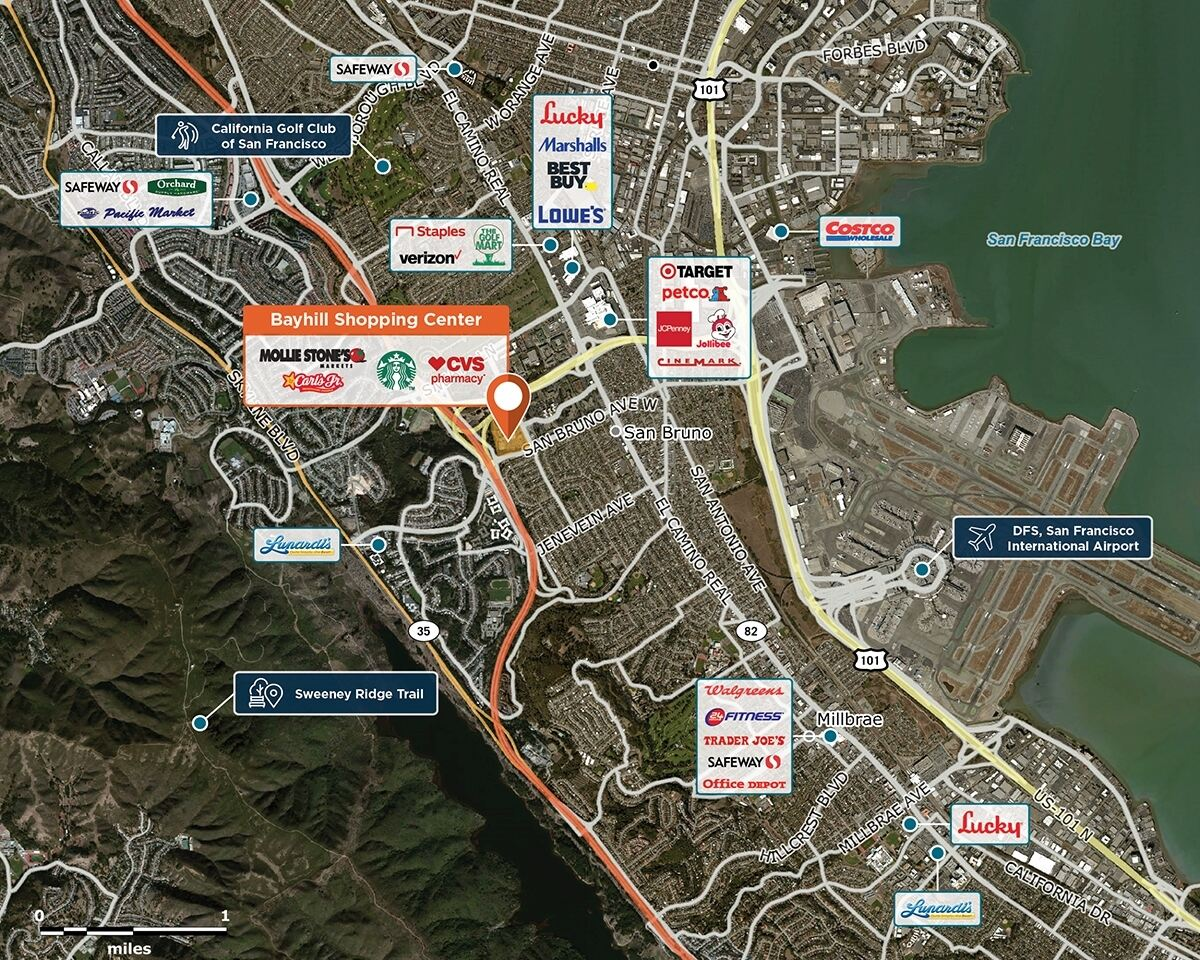 Bayhill Shopping Center Trade Area Map for San Bruno, CA 94066
