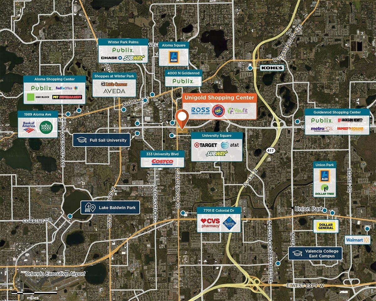 Unigold Shopping Center Trade Area Map for Winter Park, FL 32792