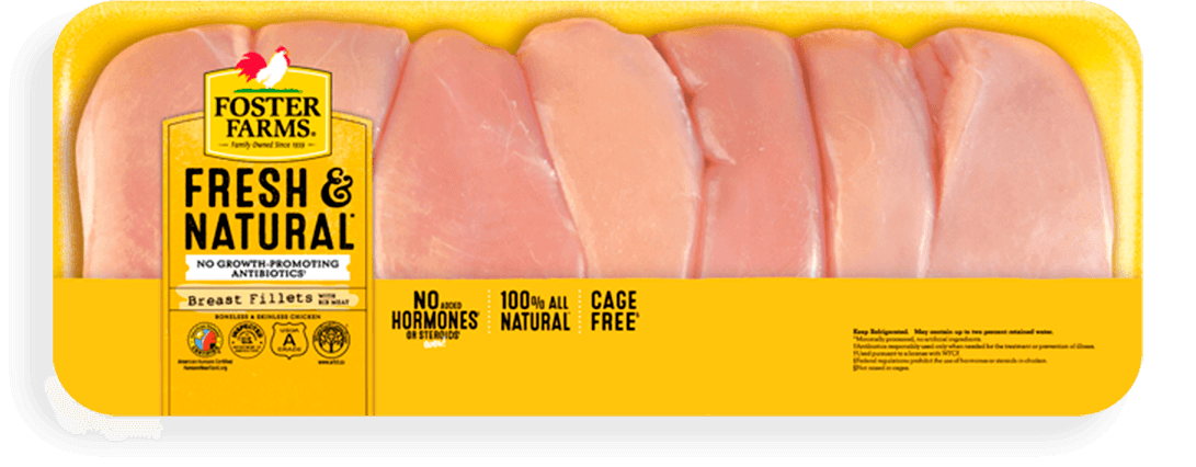 Fresh Natural Boneless Skinless Chicken Breasts Value Pack Products Foster Farms