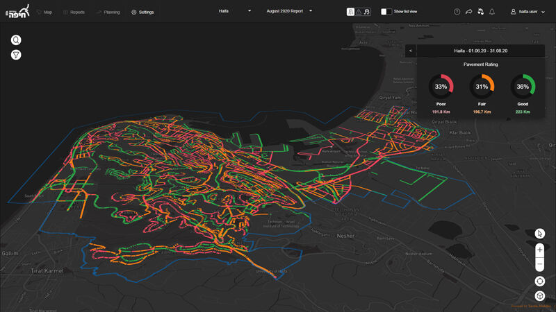 Tactile Mobility's automatically generated map that rates pavement conditions helps road agencies plan maintenance. Such maps are typically generated by an expensive and non-scalable process.