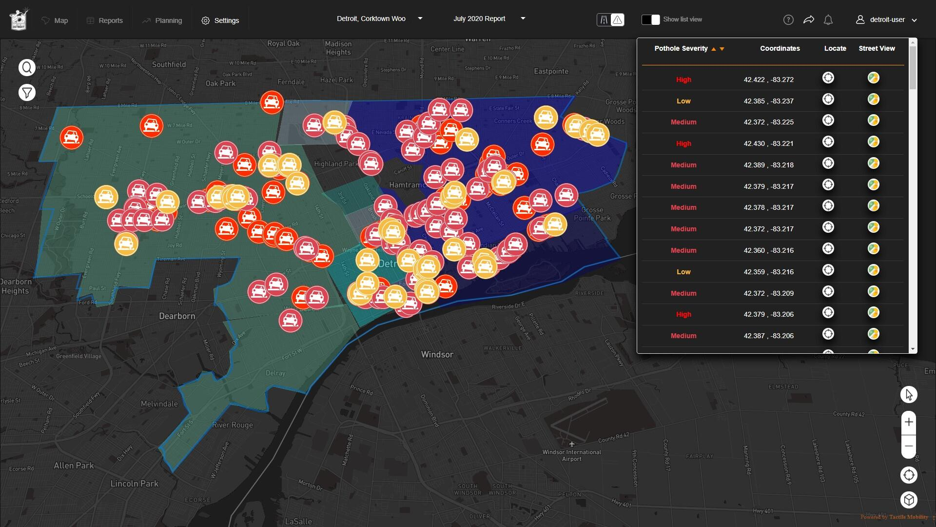 With a map that shows the locations and severity of potholes - generated from tactile data transmitted from vehicles – road agencies can identify new and deteriorating potholes and dispatch maintenance teams in a timely fashion. Similar maps are usually created manually based on reports from citizens and city workers.