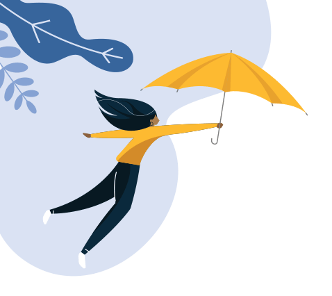 Graphic of a woman holding an umbrella flying through the air
