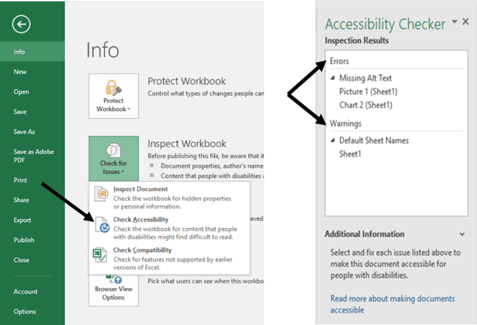 Microsoft Excel Check Accessibility menu and Inspection Results