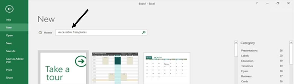 Microsoft Excel New Workbook Menu