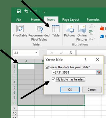 Microsoft Excel Insert Table Menu