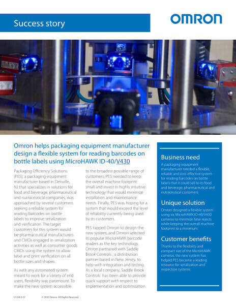 Omron helps packaging equipment manufacturer design a flexible system for reading barcodes on bottle labels using MicroHAWK ID-40/V430.