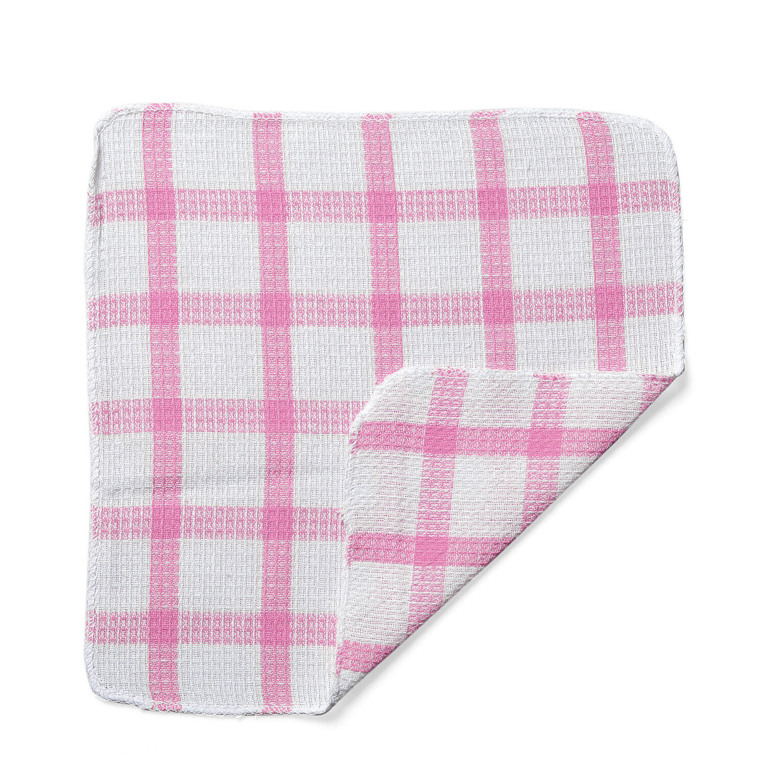Set of 24 Pink Cotton Checkered Pattern Multipurpose Dish Cleaning Cloth