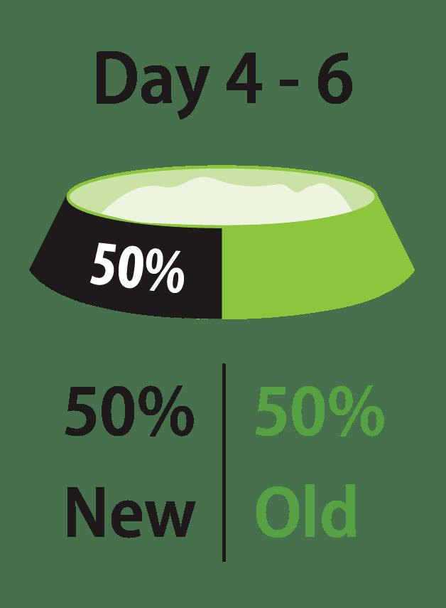第4-6天:新食物占50%,老食物占50%