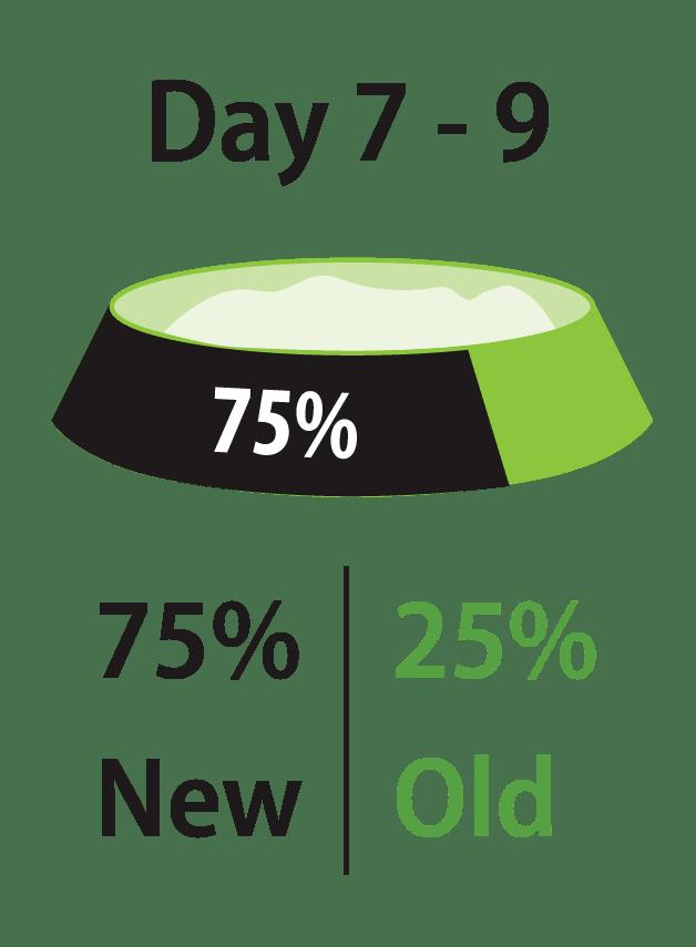 第7-9天:新食物75%,老食物25%