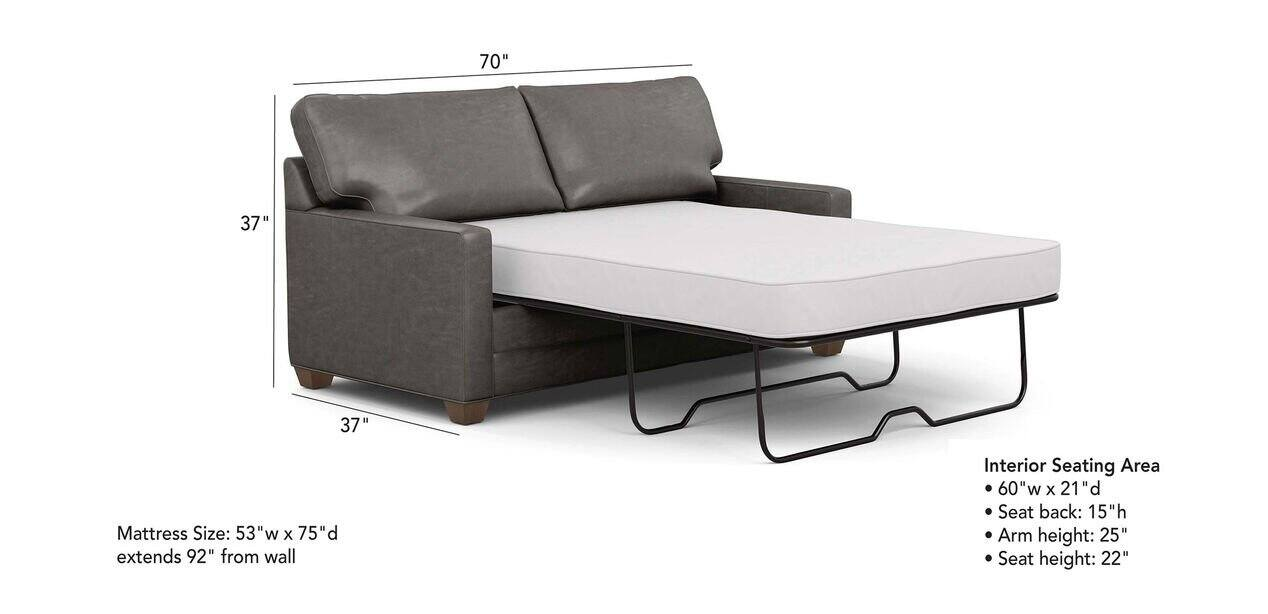 Bennett Track Arm Leather Full Sleeper, What Are The Dimensions Of A Full Size Sleeper Sofa