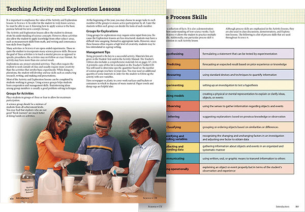 textbook pages about science activities