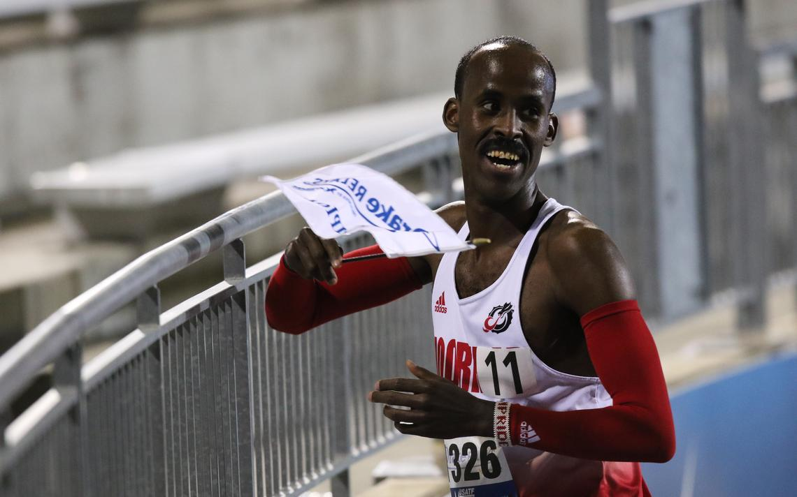 Minnesota State Moorhead's Nadir Yusef is all smiles after winning the 10,000 meters at the Drake Relays in Des Moines, Iowa, last week. Photo courtesy of Drake Athletics