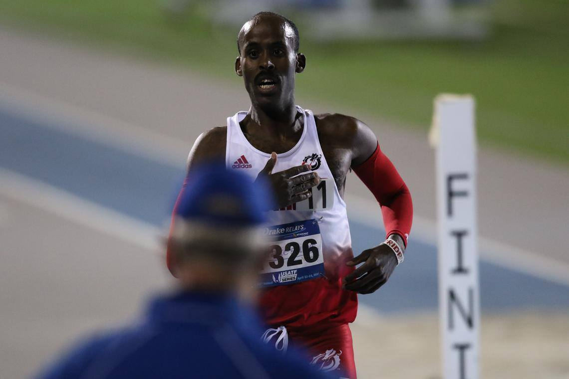 Minnesota State Moorhead's Nadir Yusuf crosses the finish line to become the first Dragon individual to ever win an event at the Drake Relays. Photo courtesy of Drake Athletics