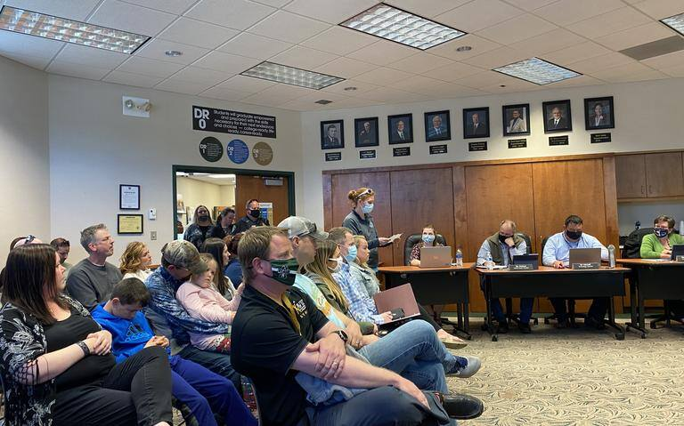 About 30 parents attended the Monday, May 10 West Fargo School Board meeting, mostly to speak out against the district's mandate for masks to be worn while inside district buildings.Wendy Reuer