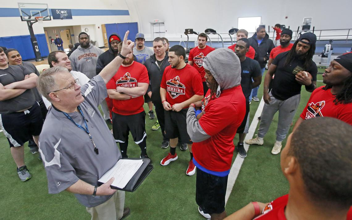 Head coach Brent Lundgren addresses players on Saturday, Jan. 27, 2018, during tryouts for the Fargo Invaders semi-pro football team at the Sanford Power Center in Fargo.David Samson / The Forum