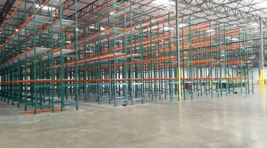 warehouse interior with rack and shelving