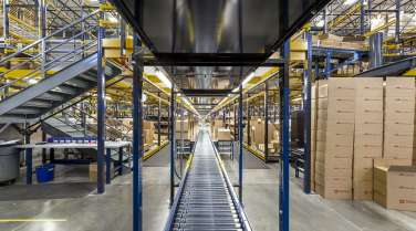 stocked warehouse interior for a medical manufacturer