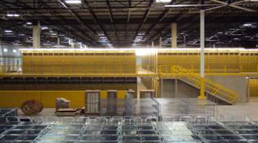 yellow equipment and storage inside a warehouse