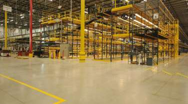 Interior of warehouse with rack and shelving