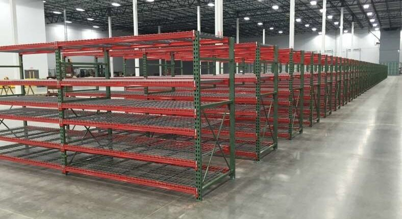 shelving in warehouse red