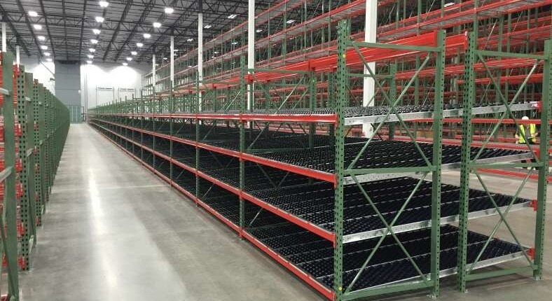 shelving in a warehouse
