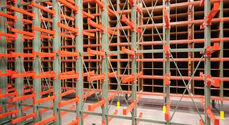 close up of rack in a warehouse