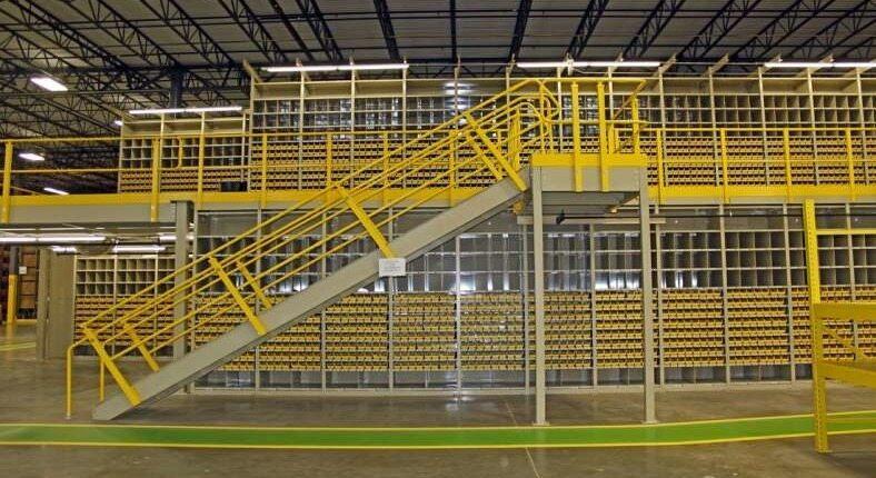 warehouse with yellow storage equipment
