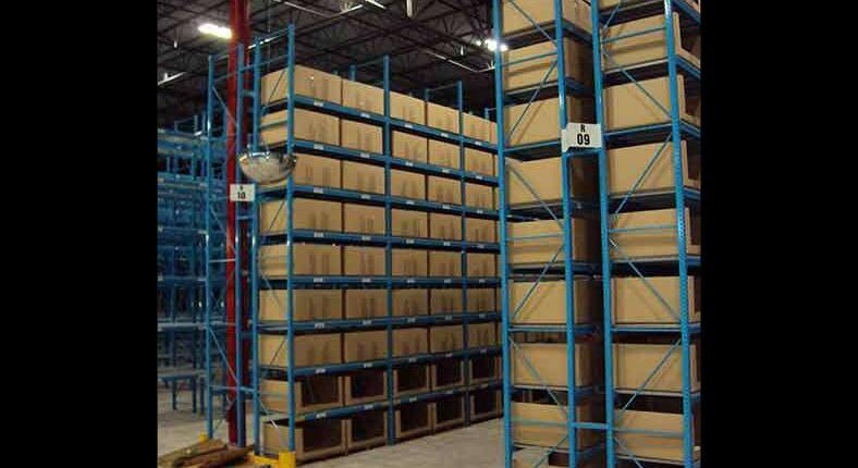 shelving with boxes