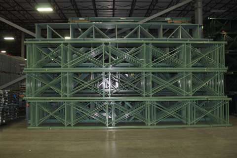 green pallet rack stacked