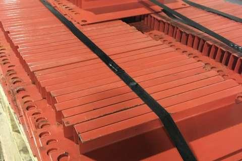 closeup of used pallet rack