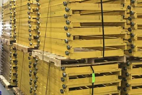 yellow pallet rack stacked