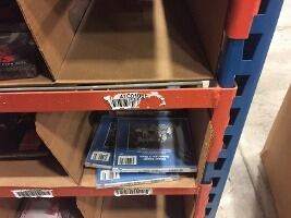 shelving with things on it
