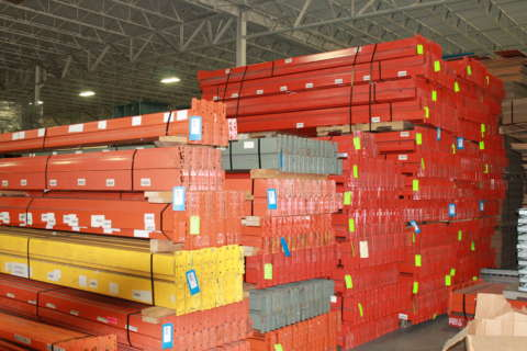 pallet rack stacked in a warehosue