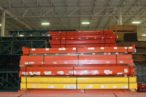 red orange and yellow pallet rack