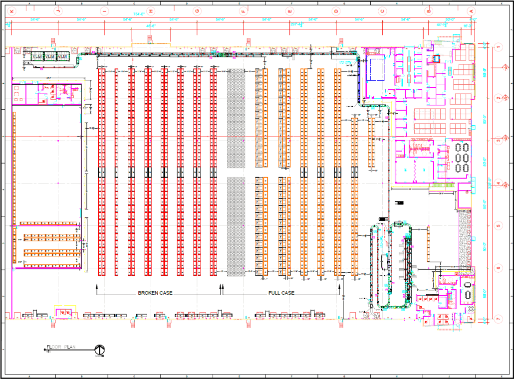 Complete Automated Warehouse CAD Drawing
